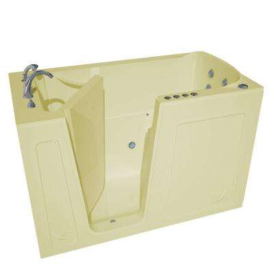 Nova Heated 5 ft. Walk-In Air and Whirlpool Jetted Tub in Biscuit with Chrome Trim