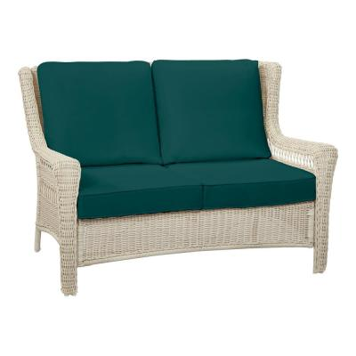 Park Meadows Off-White Wicker Outdoor Patio Loveseat with CushionGuard Malachite Green Cushions