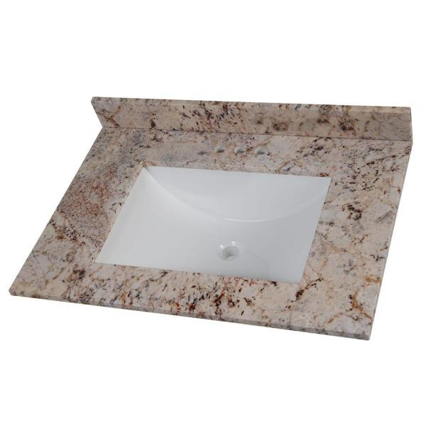 31 in. Stone Effects Vanity Top in Rustic Gold with White Sink