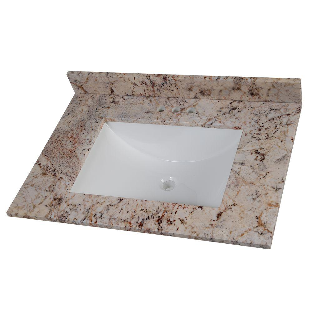 31 in. Stone Effects Vanity Top in Rustic Gold with White