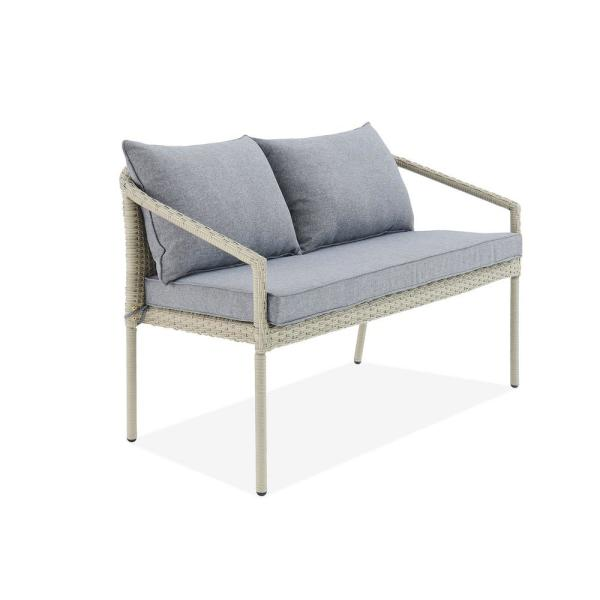 Windham Light Gray All-Weather Wicker Outdoor Loveseat with Dark Gray Cushions