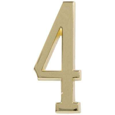 4 in. Distinctions Brass Plated Number 4