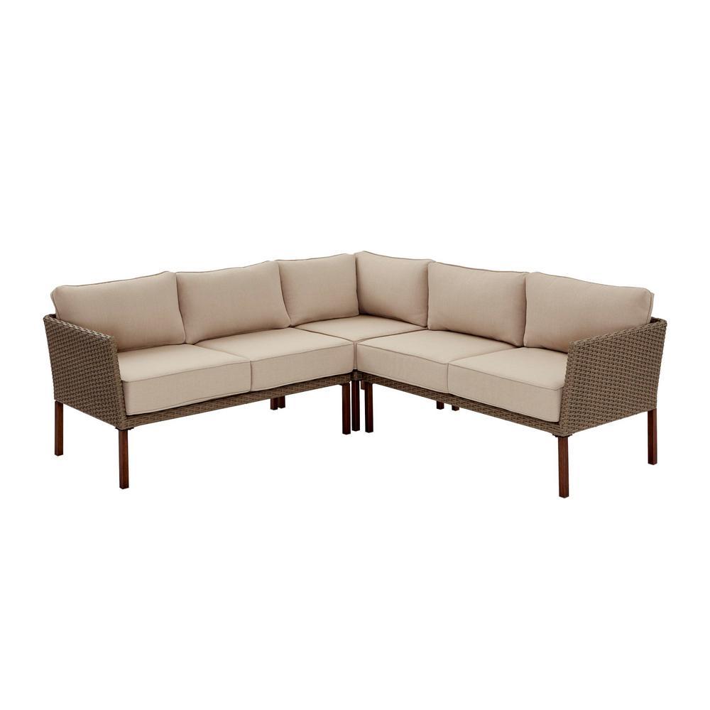 Hampton Bay Gladstone 3-Pc Patio Sectional Seating Set w/Cushions