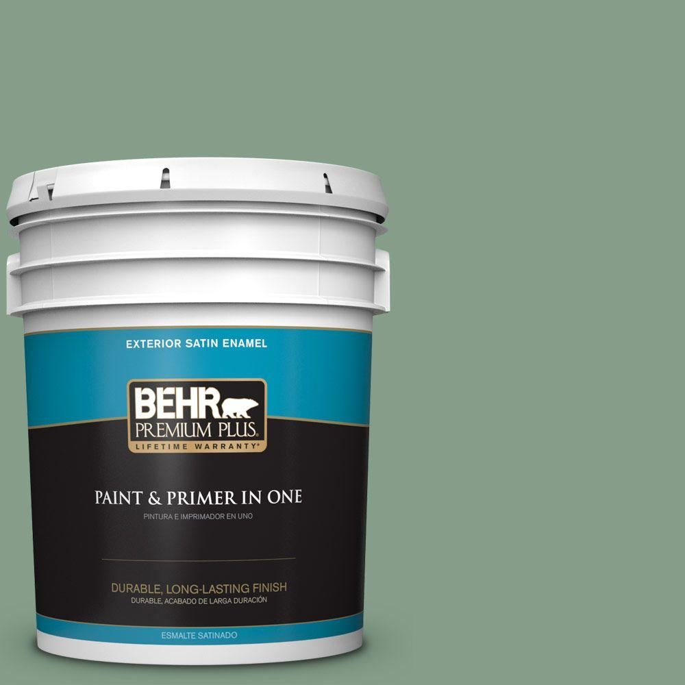 BEHR Premium Plus 5-gal. #S410-5 Track Green Satin Enamel Exterior Paint