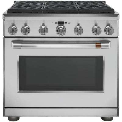 36 in. 5.75 cu. ft. Dual Fuel Range with Self-Cleaning Convection Oven in Stainless Steel