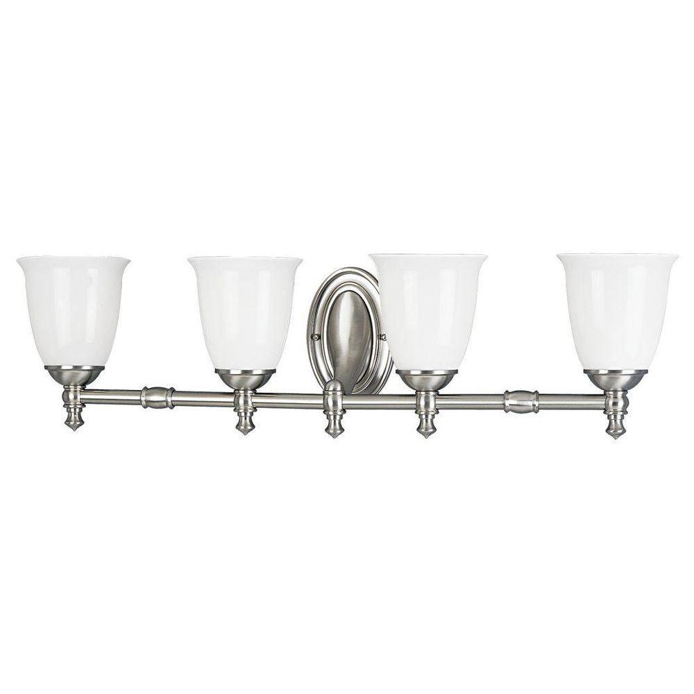 Progress Lighting Victorian Collection 4 Light Brushed Nickel Bathroom Vanity With Gl Shades