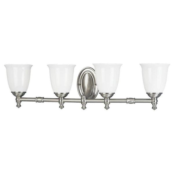 Victorian Collection 4-Light Brushed Nickel Bathroom Vanity Light with Glass Shades