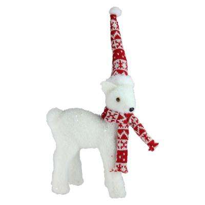 14.5 in. White Standing Deer in Nordic Hat and Scarf Christmas Decoration