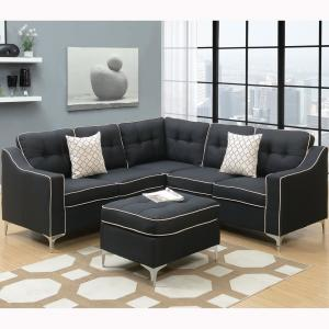 Pleasing Palermo 4 Piece Black Sectional Sofa With Ottoman Pabps2019 Chair Design Images Pabps2019Com