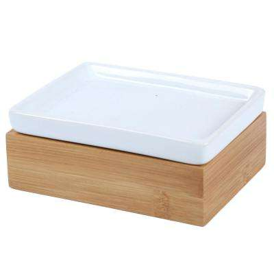 Natural Bamboo Bar Soap Dish Hand Soap Tray Holder with Ceramic Tray Insert for Bathroom Countertop Kitchen Sink