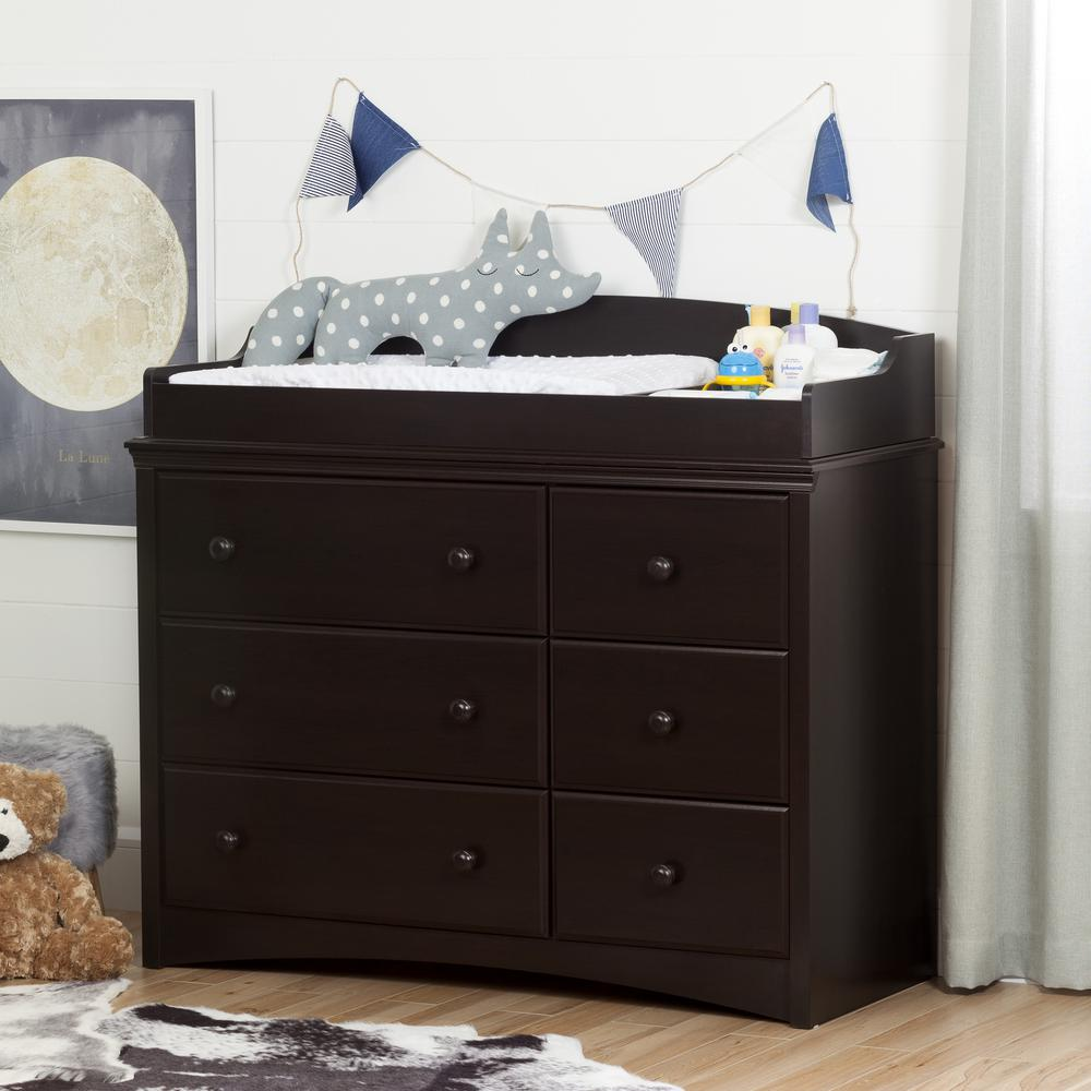 Merveilleux South Shore Angel 6 Drawer Espresso Changing Table