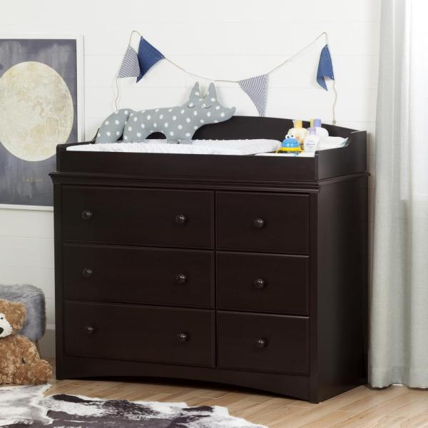 South Shore Angel 6-Drawer Espresso Changing Table 10209