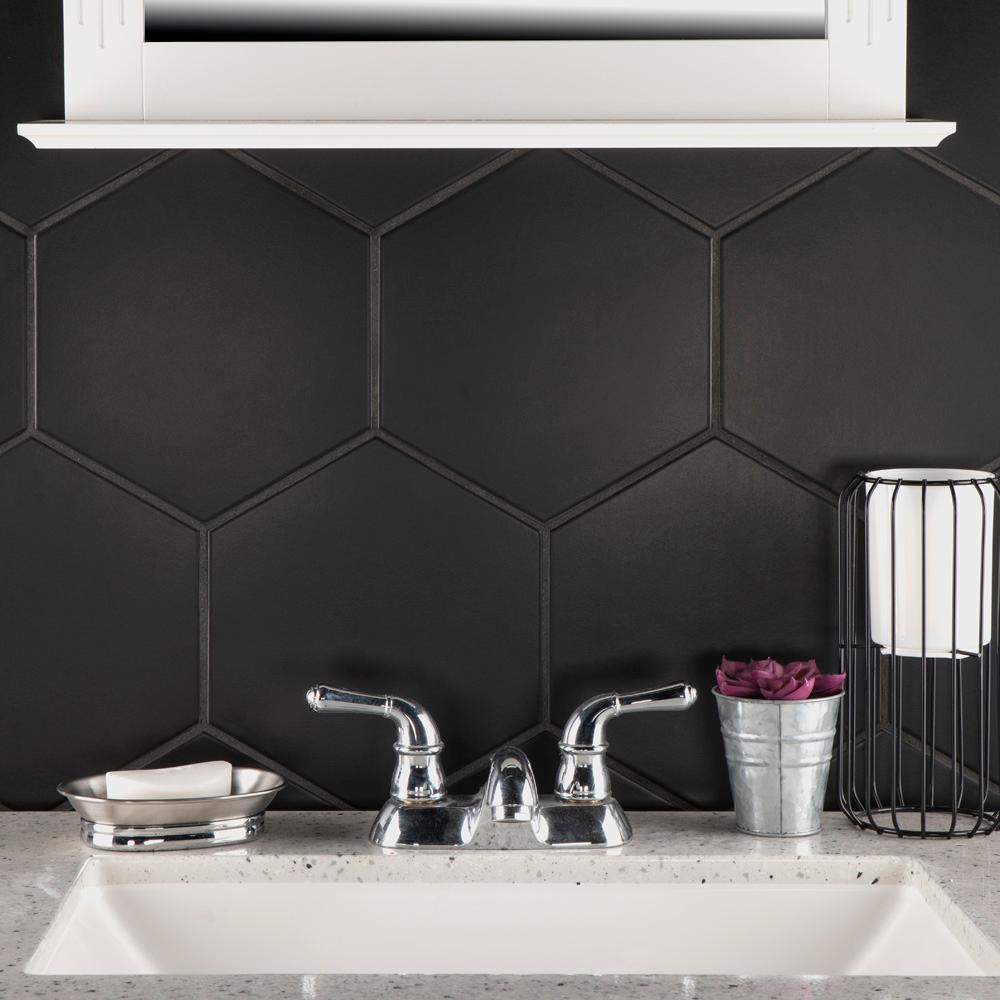 - Merola Tile Textile Hex Black 8-5/8 In. X 9-7/8 In. Porcelain