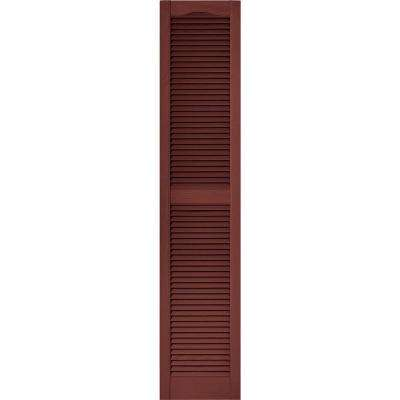 15 in. x 72 in. Louvered Vinyl Exterior Shutters Pair in #027 Burgundy Red