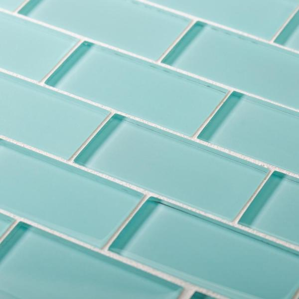Tiffany May Tourquoise 11.75 in. x 11.75 in. x 8 mm Interlocking Glossy Glass Mosaic Tile