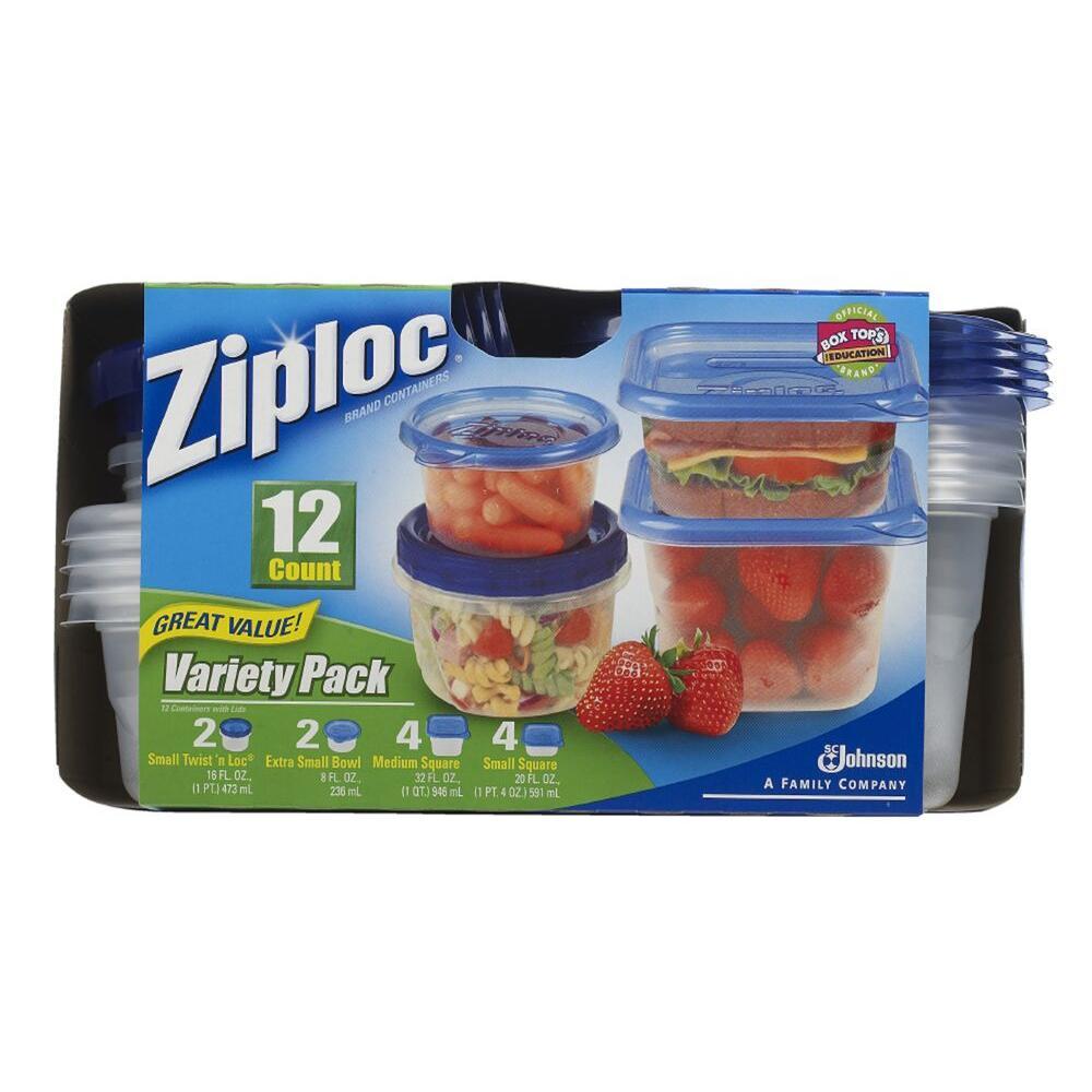 Ziploc 8 oz., 16 oz., 20 oz., 32 oz. Plastic Storage Containers Variety Lids (16 per Pack) (6 per Carton)
