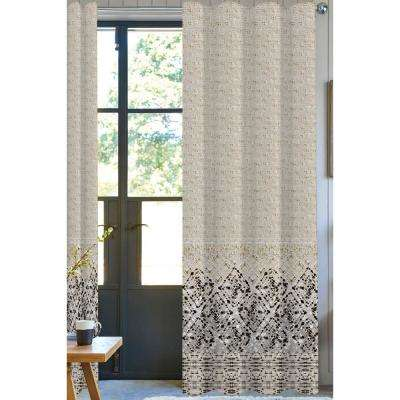 Eleta Printed Designer Organic Cotton Drapery in Beige/Black - 50 in. x 96 in.