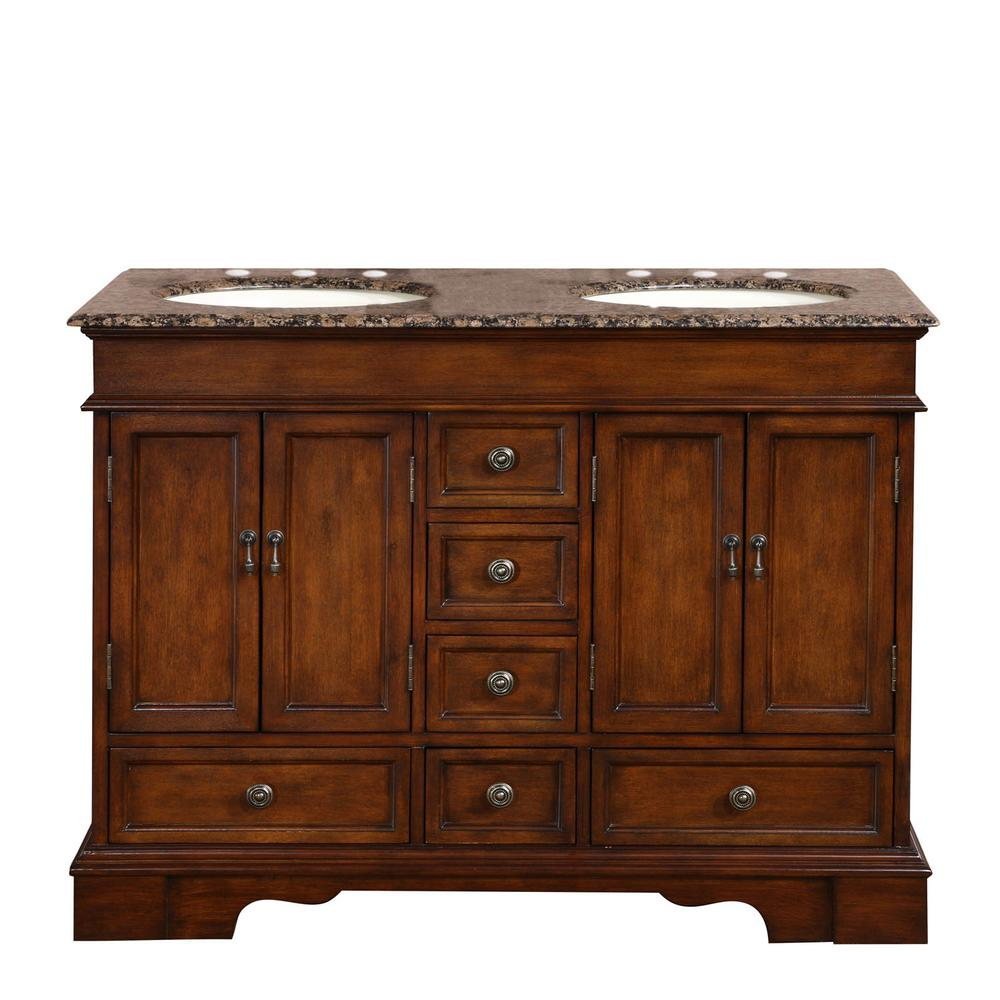 Silkroad Exclusive 48 In W X 22 In D Vanity In Red Chestnut With Granite Vanity Top In Baltic Brown With Ivory Basin Hyp0715bbuic48 The Home Depot