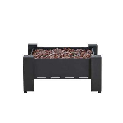 Paisley 30 in.x 30 in. Square Powder Coated Steel Gas Fire Pit in Charcoal