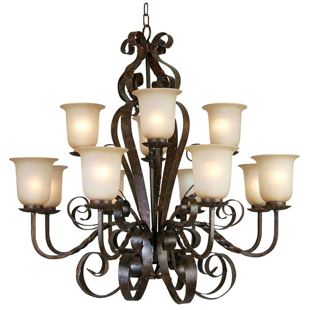 Yosemite Home Decor McKensi Collection 12-Light Bronze Patina Hanging Chandelier with Alabaster Glass Shade