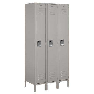 61000 Series 36 in. W x 78 in. H x 18 in. D Single Tier Metal Locker Unassembled in Gray