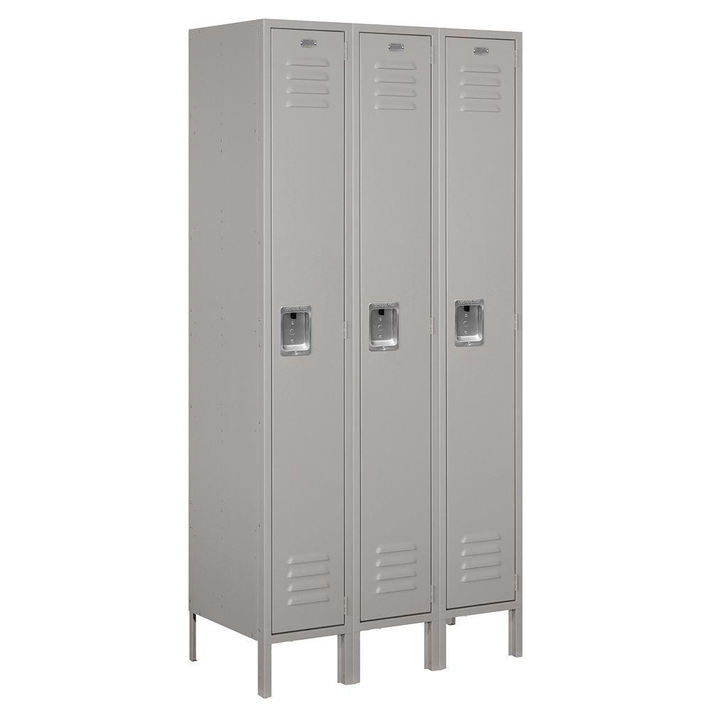 61000 Series 36 in. W x 78 in. H x 18 in. D Single Tier Metal Locker Unassembled in Gray