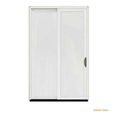 60 in. x 96 in. W-2500 Contemporary White Clad Wood Right-Hand Full Lite Sliding Patio Door w/White Paint Interior
