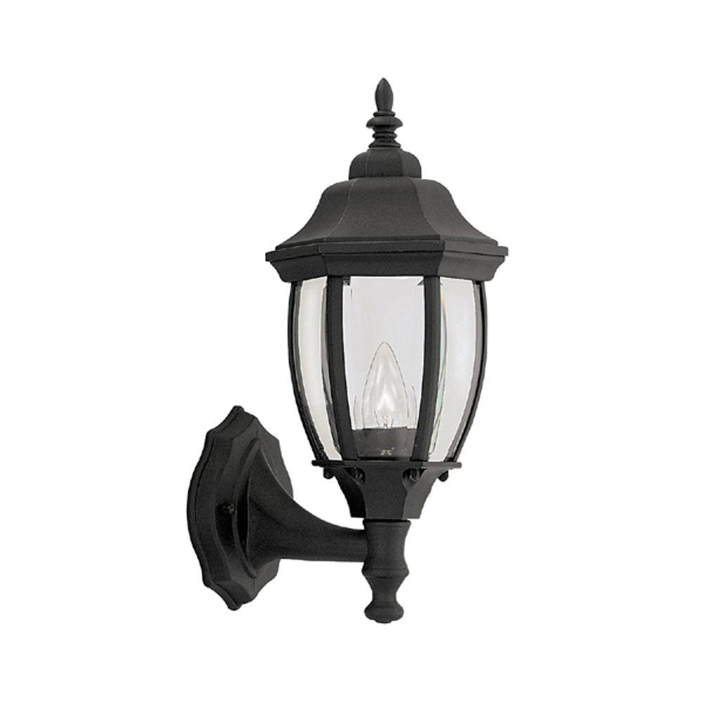 Designers Fountain Windsor Mill Collection Solid Black Outdoor Wall-Mount Lantern