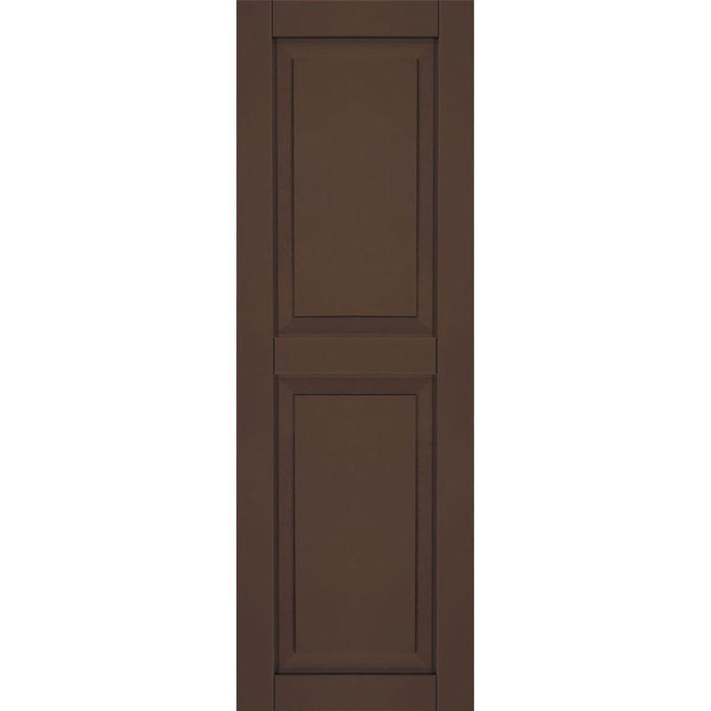 Ekena Millwork 15 in. x 34 in. Exterior Composite Wood Raised Panel Shutters Pair Tudor Brown