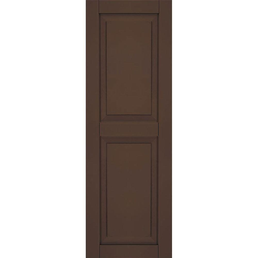 Ekena Millwork 18 in. x 43 in. Exterior Composite Wood Raised Panel Shutters Pair Tudor Brown