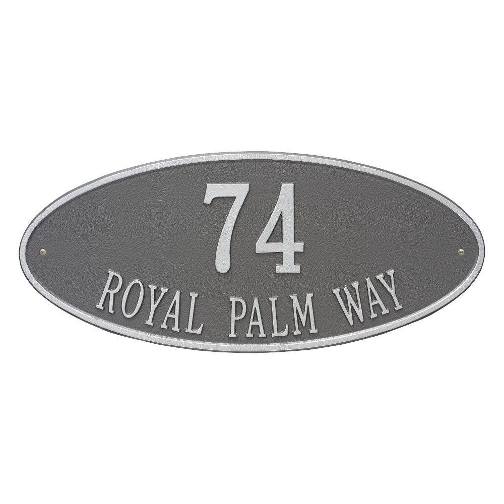 Madison Estate Oval Pewter/Silver Wall 2-Line Address Plaque