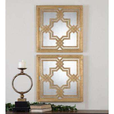 20 in. x 20 in. Gold Wood Framed Mirror (2-Pack)