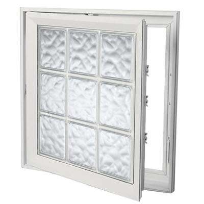 29 in. x 29 in. Left-Hand Acrylic Block Casement Vinyl Window with White Interior and Exterior