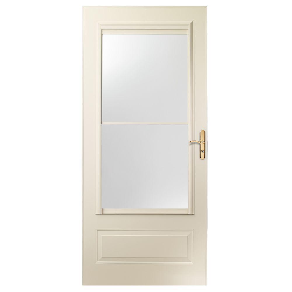 36 in. x 80 in. 400 Series Almond Universal Self-Storing Aluminum Storm Door with Brass Hardware