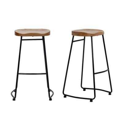 StyleWell Black Metal Backless Bar Stool with Wood Seat (Set of 2) (18.5 in. W x 29.52 in. H)