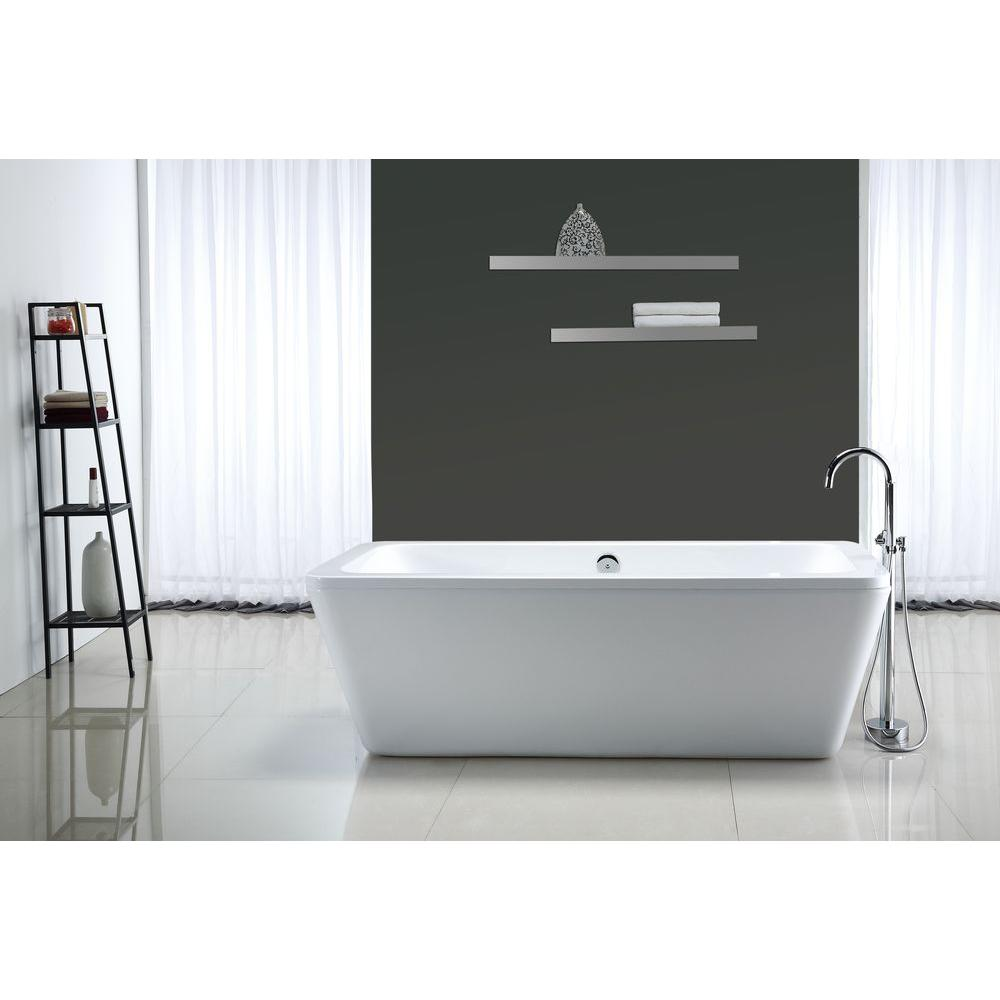 OVE Decors Kido 5.75 ft. Center Drain Bathtub in White-KIDO 69 - The ...