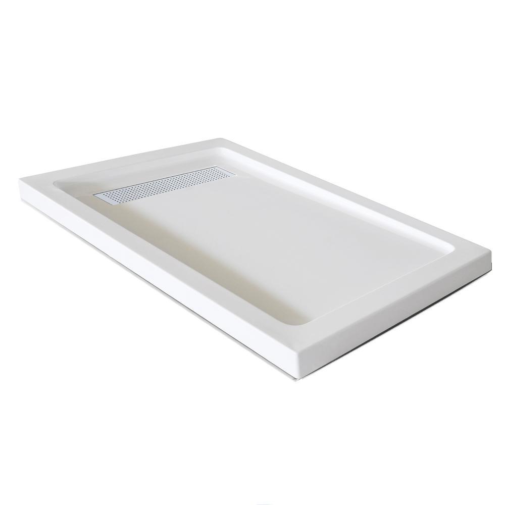 Jade 32 in. x 60 in. Single Threshold Shower Base in White