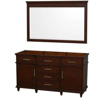 Berkeley 60 in. Vanity Cabinet with Mirror in Dark Chestnut