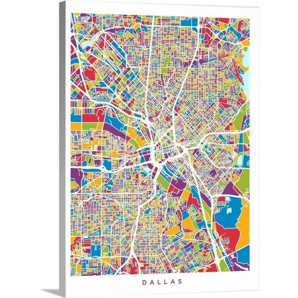 City Map Of Texas.Greatbigcanvas 18 In X 24 In Dallas Texas City Map By Michael