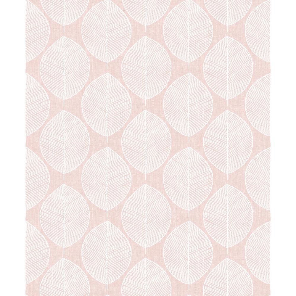 Scandi Leaf Pink Wallpaper