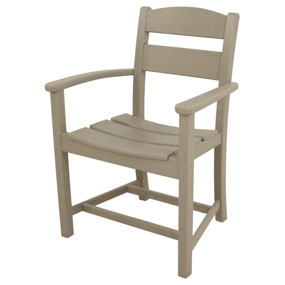 Ivy Terrace Classics Sand All-Weather Plastic Outdoor Dining Arm Chair
