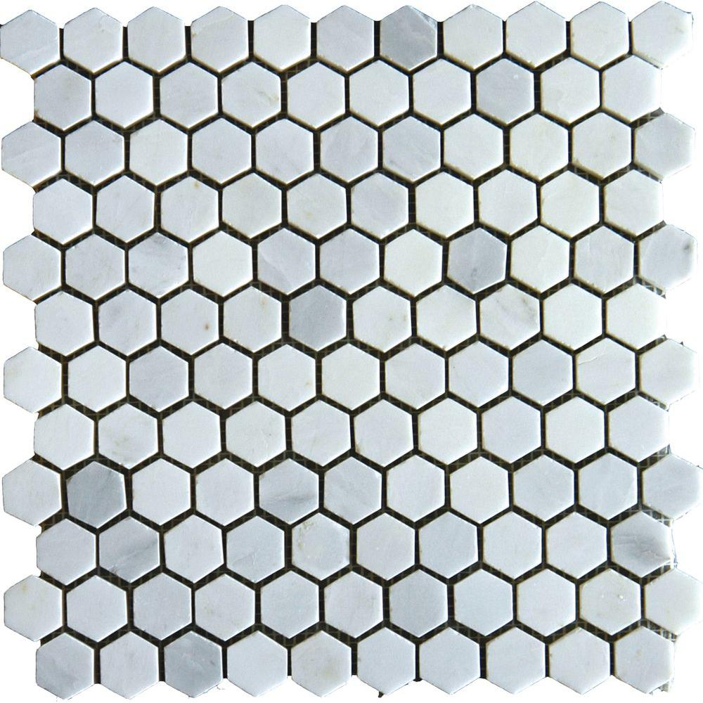 MS International Greecian White 12 in. x 12 in. x 10 mm Honed Marble Mesh-Mounted Mosaic Tile (10 sq. ft. / case)