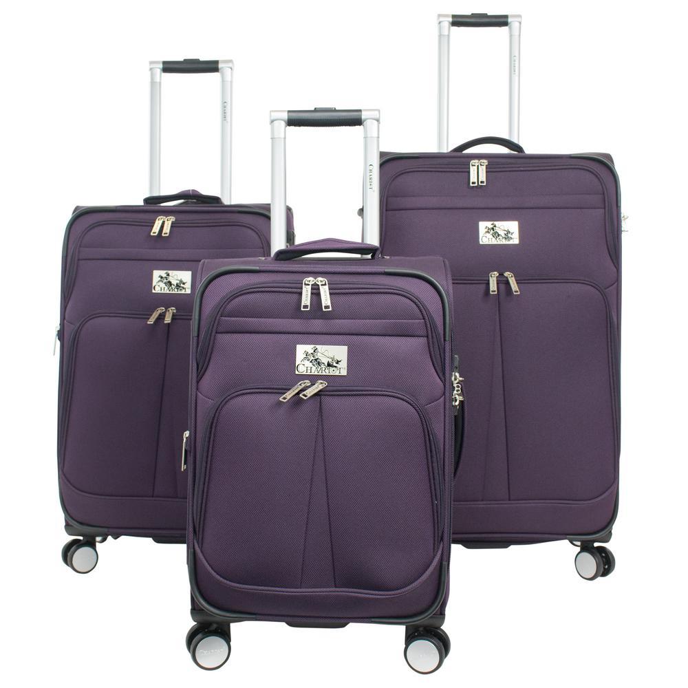 d52b3e6ab0eb Chariot Prague 3-Piece Softside Luggage Set CH-595 PURPLE - The Home ...