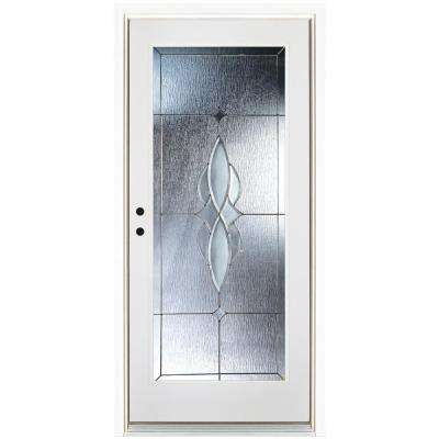 36 in. x 80 in. Scotia Smooth White Right-Hand Inswing Full 1 Lite Decorative Fiberglass Prehung Front Door