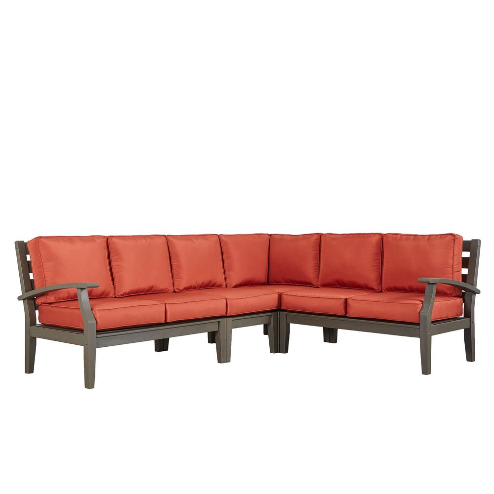 Homesullivan Verdon Gorge Gray 3 Piece Oiled Wood Outdoor Sofa With Red Cushions