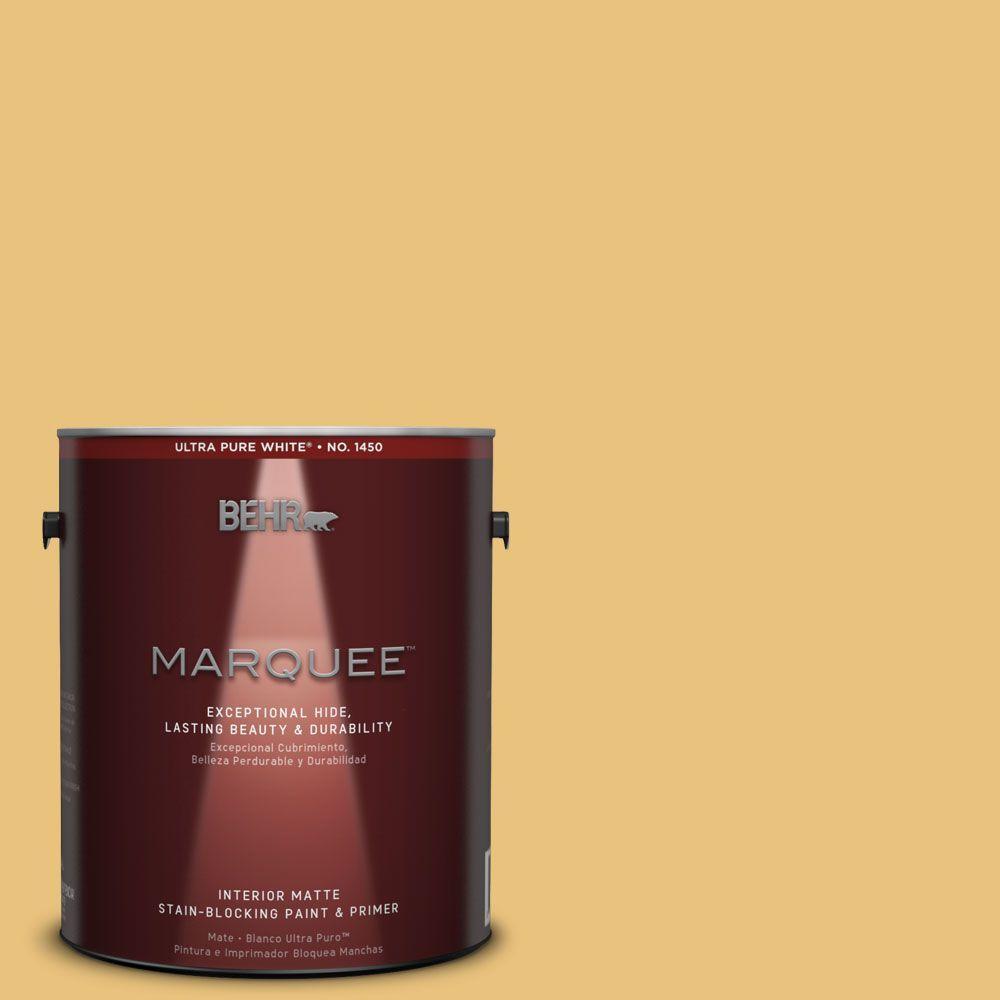BEHR MARQUEE 1 gal. #MQ4-13 Golden Thread One-Coat Hide Matte ...
