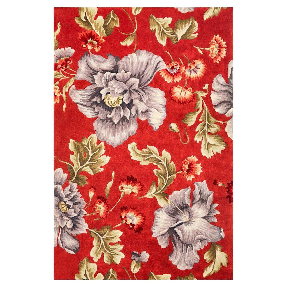 Kas Rugs Colossal Floral Coral/Blue 5 Ft. 3 In. X 8 Ft