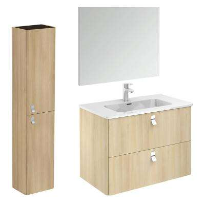 32 in. W x 18 in. D x 23 in. H Complete Bathroom Vanity Unit in Nordic Oak with Mirror and Column