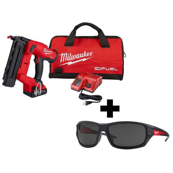 M18 FUEL 18-Volt 18-Gauge Lithium-Ion Brushless Cordless Gen II Brad Nailer Kit and Tinted Performance Safety Glasses
