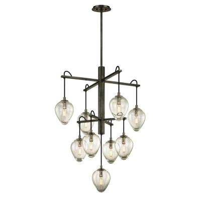 Brixton 9-Light Gunmetal 30.25 in. W Pendant with Clear Glass